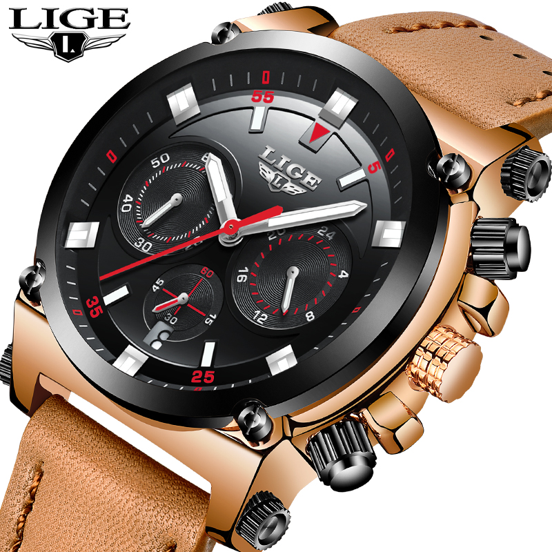 2018 LIGE Mens Watches Top Brand Luxury 24 hour Date Quartz Watch Man Leather Big dial Sport Wrist Watch Men Waterproof Clock new chenxi brand dial male clock hours hand date black leather straps mens quartz wrist watch 3atm waterproof wristwatches man