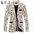 Q.E.J Мода 2016 Новый Дизайн Мужчины Blazer Цветочный Костюм Личность случайный Пиджак Для Мужчин Blazer Slim Fit Куртка Мужчины ТОПЫ ПАЛЬТО