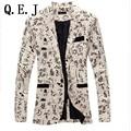 Q.E.J Fashion 2016 New Design Men Blazer Floral Suit Personality Casual Blazer For Men Blazer Slim Fit Jacket Men TOPS COAT