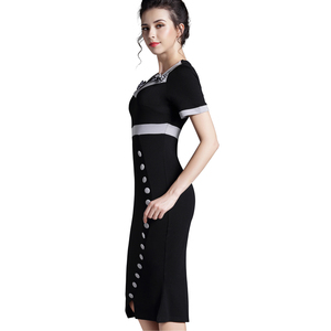 Image 2 - Nice forever Bowknot Female Work Vintage Dress Women Cotton Tunic Black Short Sleeve Formal Mermaid Buttons Wiggle dress b220