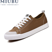 MIUBU Breathable Low Canvas Shoes lovers Mens Anti-Odor Light Lace-Up Casual New Non-Slip Soles Solid Big Size Male