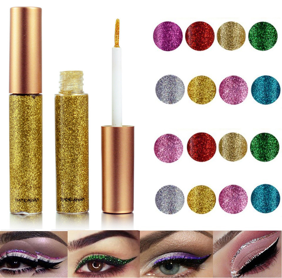 2019 Hot 10 colors Eyeliner Liquid Make Up Beauty Comestics sequins Eye Liner glitter shimmer shiny High Quality Waterproof-in Eyeliner from Beauty & Health