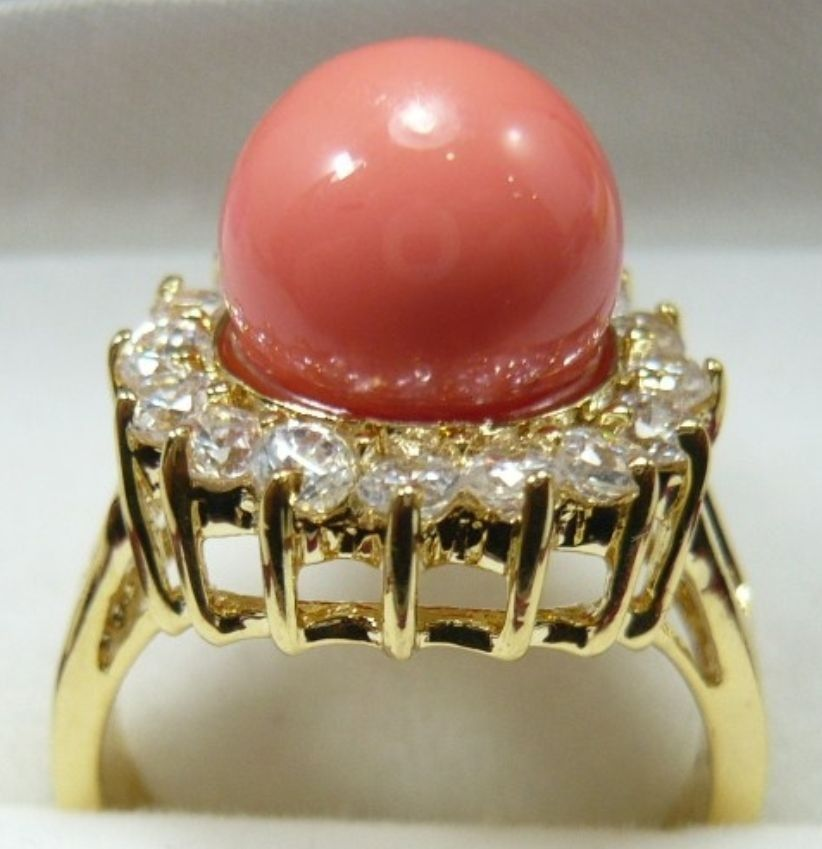 Wholesale Lady Noble 10mm Pink Mother of Pearl Silver 925 jewelry Womens Plating Ring (# 6,7, 8,9)