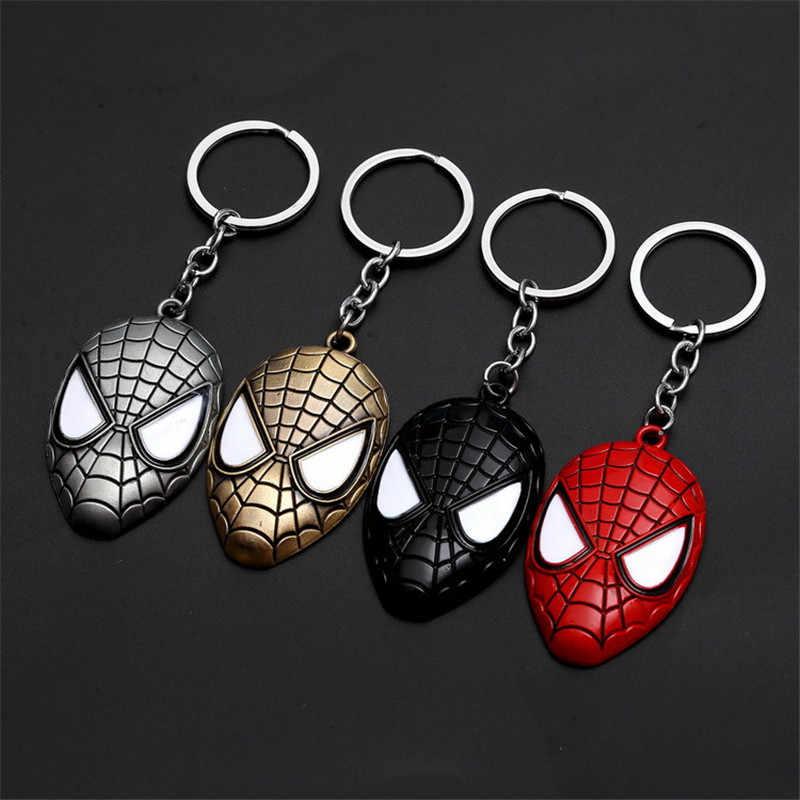 โลหะ Marvel Avengers Captain America Shield Keychain Spider man Iron man Mask Keychain ของเล่น Hulk Batman Action Figure คอสเพลย์
