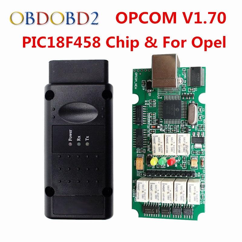 NEW OPCOM V1.70 For Opel OP COM OBD2 Diagnostic Scanner With Real PIC18F458 OP-COM For Opel Diagnostic Tool Flash Firmware opel tech 2 com obd2 eobd auto diagnostic tool