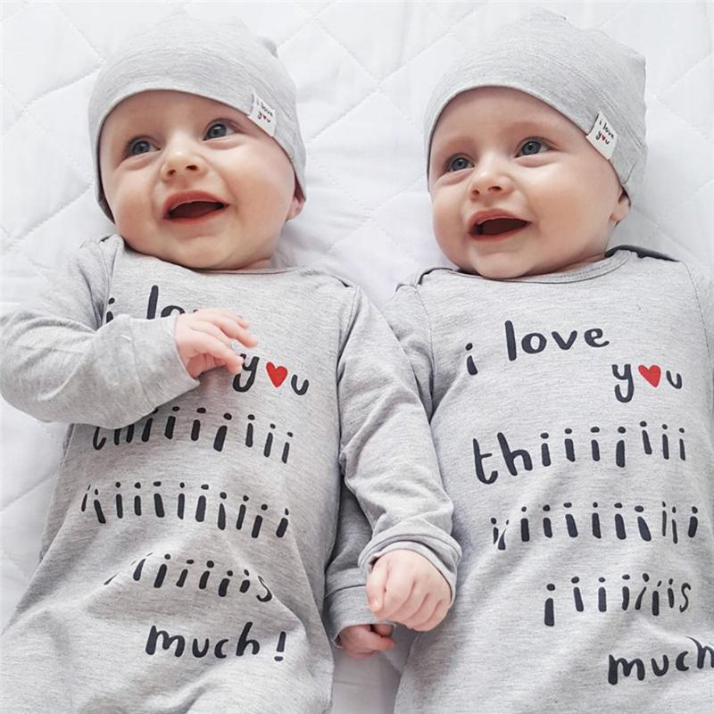 2Pcs Baby Boys Girls Spring Autumn Romper Clothes Fashion Letters Printed Long Sleeve Romper One-piece Jumpsuit + Hat Outfit Set