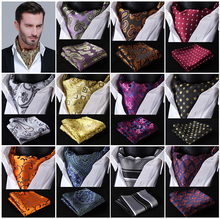 Blue Floral 100%Silk Ascot Pocket Square Cravat, Casual Jacquard Dress Scarves Ties Woven Party Ascot Handkerchief Set #A6