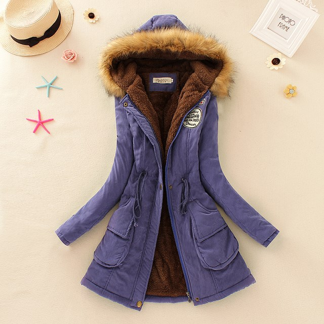 HTB1BnCidVzqK1RjSZFvq6AB7VXan 2019 Winter New Women's Hooded Fur Collar Waist And Velvet Thick Warm Long Cotton Coat Jacket Coat