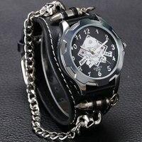 새로운 도착 멋진 펑크 팔찌 쿼츠 시계 손목 시계 해골 총알 체인 고딕 스타일의 아날로그 가죽 스트랩 남자 여자 크리스마스 선물