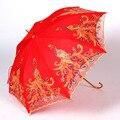Свадебный двухслойный кружевной зонт с павлиньим открытым экраном  вышитый Свадебный зонт с длинной ручкой  Hi красный зонт