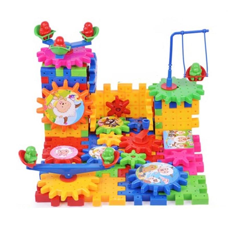 81 pcs Elektrische Versnellingen 3D Puzzel Bouwpakketten Plastic Bricks Speelgoed Versnellingen Set Educatief Interactieve Bouw Speelgoed Voor Kinderen