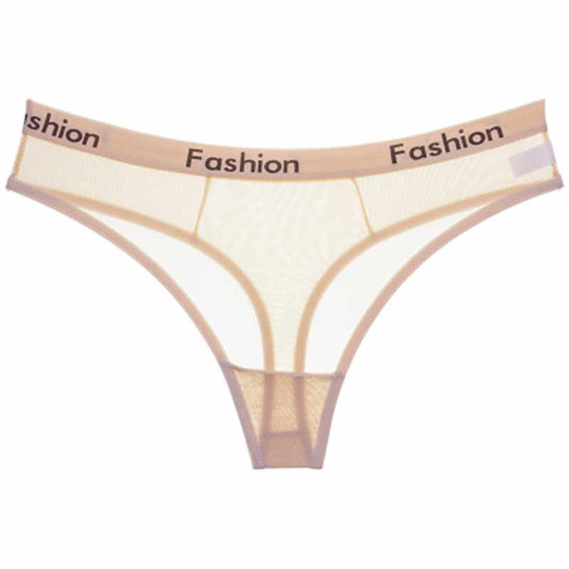 Nuevo estilo bragas para chicas jóvenes ropa interior malla transparente Biriefs Lencería moda letra impresa chica G String niños Tanga bragas