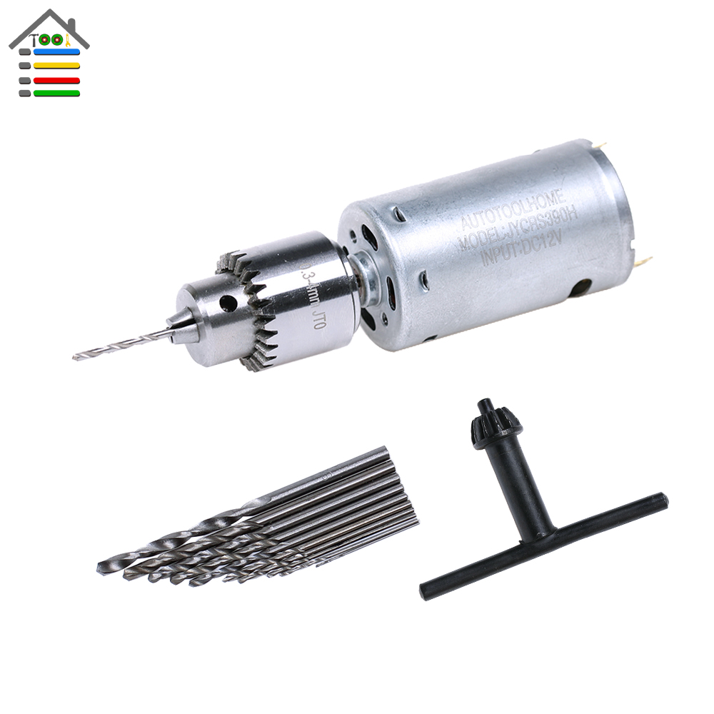 Dc 12v Motor Electric Drill Mini Hand Drill Pcb Drills Press Drilling Set With 10pc 0.5-3mm Twist Bits And 0.3-4mm Jt0 Chucks 50% OFF