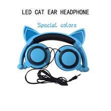 Foldable Flashing Glowing cat ear headphones Gaming Headset Earphone with LED light earphones suitable holiday gift  or cosplay