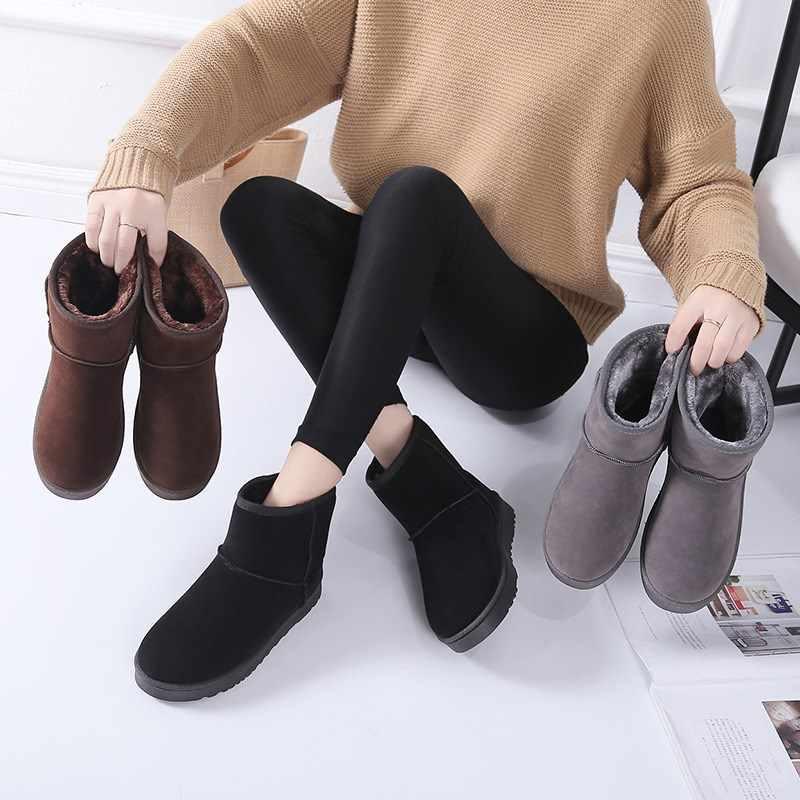 Зимние сапоги 2019 г. Женские зимние ботильоны корейская мода размера плюс, Нескользящие ботинки на плоской подошве, сохраняющие тепло женская обувь Botas mujer