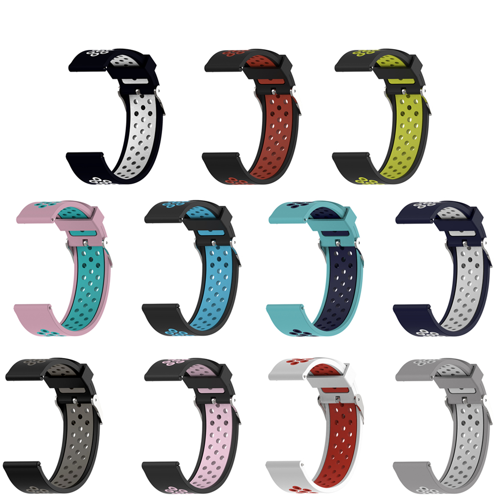 20MM Silicon Wristband Strap For Huami Amazfit Bip Bit GTR 42mm/Samsung Gear Sport Galaxy Watch/For Huawei Watch 2/Weloop  Band