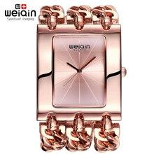 WEIQIN Mujeres Square Dial de Oro Rosa Brazalete Pulsera Relojes Mujeres Analógico Quart Reloj de Señoras Vestido Reloj de La Manera Muchachas 2016