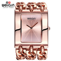 WEIQIN Women Square Dial Rose Gold Bangle Watch Analog Quartz Mvmt Ladies Bracelet Watches Female Wristwatch