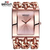 WEIQIN Women Square Dial Rose Gold Bangle Watch Analog Quartz Mvmt Ladies Bracelet Watches Female Wristwatch