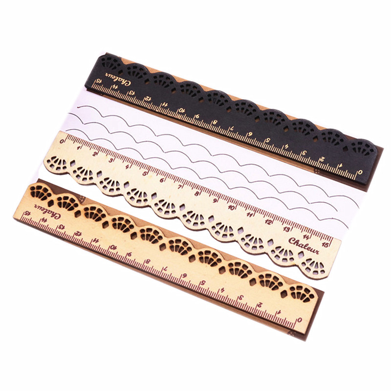 1 Pcs 15cm Lace Ruler South Korea Stationery Small Fresh Cute Sweet Retro Lace Carving Log Straight Ruler Student Stationery