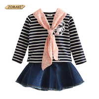 Yeni Moda Kız Giyim Set Sonbahar Casual Suit Çizgili T Gömlek + Hediye Ile Eşarp Denim Tutu Etek Prenses Çocuk Giysileri Setleri