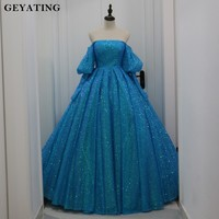 Luxury Blue Sequins Cinderella Quinceanera Dresses 2019 Vestido de 15 anos Off the Shoulder Ball Gown Sweet 16 Dress Puff Sleeve