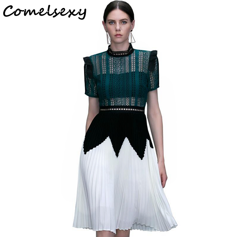 Comelsexy New Fashion Brand Dress 2018 Runway Summer Patchwork White Hollow Out Lace Stand Collar Pleated Party Women Dress