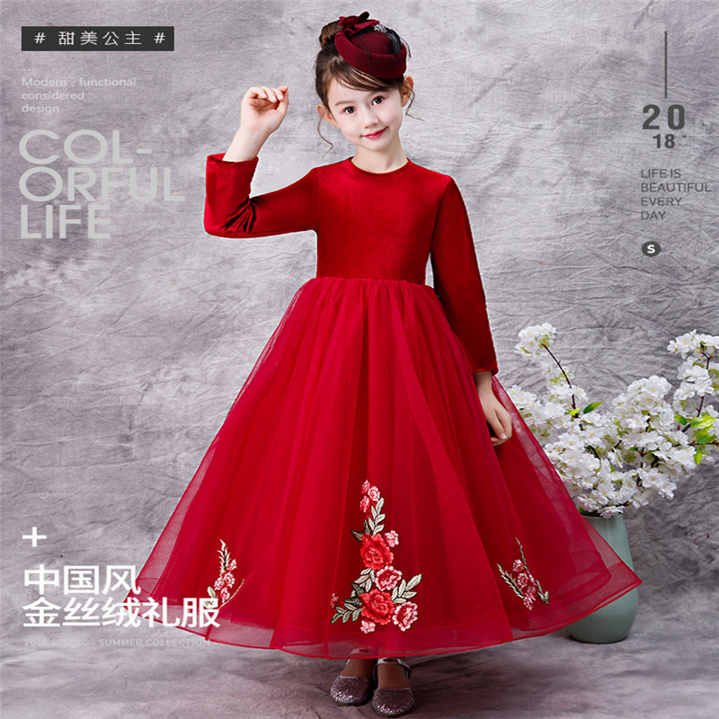 2018 Autumn Winter Children Girls Noble Red Evening Party Birthday Embroidery Flowers Dress Kids Teens Piano Dance Host Dress цена