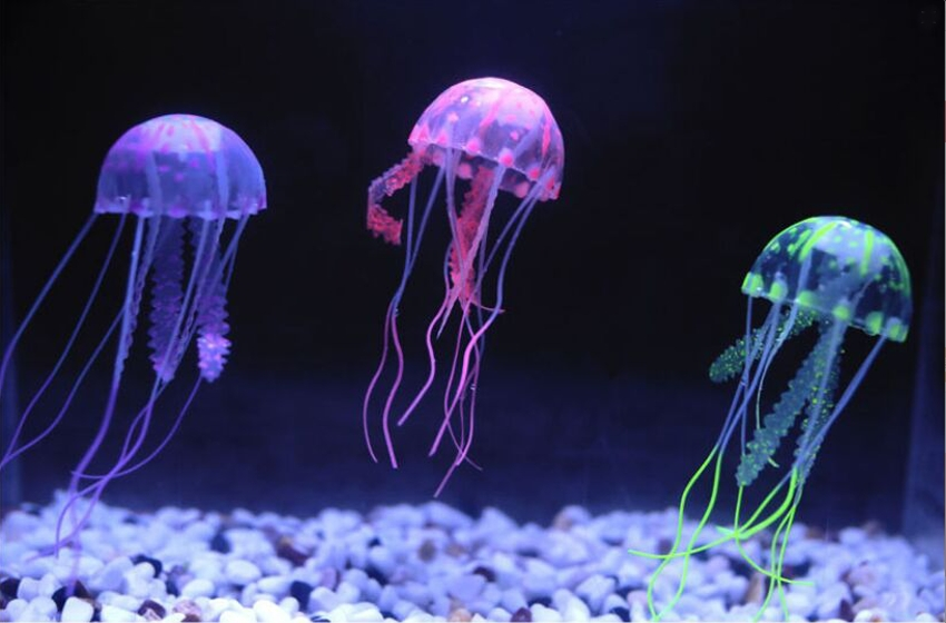 Glowing Artificial Jellyfish Silicone Fish Tank Decor Aquarium Decoration Ornament 3 Months Warranty In Decorations From Home Garden On