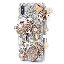 Luxe Crystal Rhinestone Diamond Pompoen Auto Bling Case Cover Voor Iphone 12 Xs Xr X Xs MAX11 Pro Max 8 7 Plus 6 6S Plus Coque