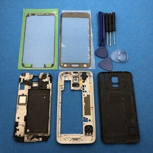 Image 2 - Tam konut Case kapak yedek parçalar Samsung Galaxy S5 SV G900 I9600 + dış cam + Sticker + araçları