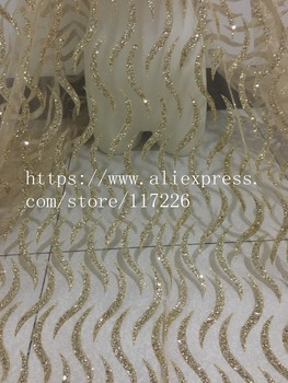 fashion JRB-01622 french net fabric with gold glued glitter shinny sequins lace fabric for wedding dress