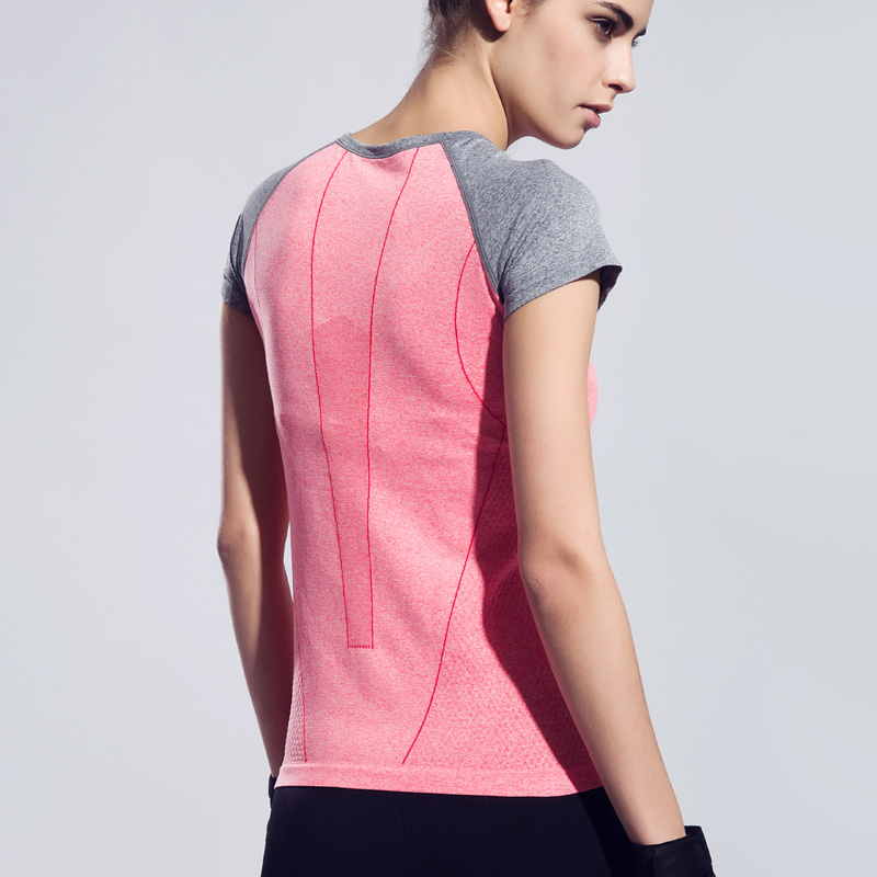 BESGO Women Dry Quick Sweat Yoga T shirt Fitness Running Sports T-shirt Gym Patchwork Exercises Short Sleeve Tops Sportswear