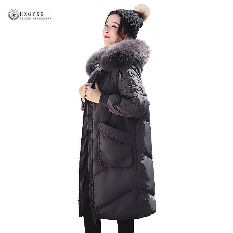 Female Casual Big Yard   Down     Coat   Women Winter Jackets Large Fur Hood Medium-Long Parka 2019 New White Duck   Down   Jacket OK1279