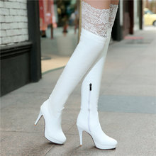 New Women Boots Sexy Red Bottom Thigh High Boots Platform Thin Heels Shoes Woman Over the Knee Boots Plus Size White Black