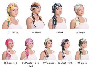 Image 2 - Мусульманская женская шапка тюрбан головной шарф Эластичная Повязка Бандана Хиджаб Кепка против выпадения волос с цветочным принтом Кепка для химиотерапии индийская мода