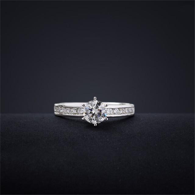 0.86CTW Round Cut Diamond 18K White Gold Wedding Engagement Ring