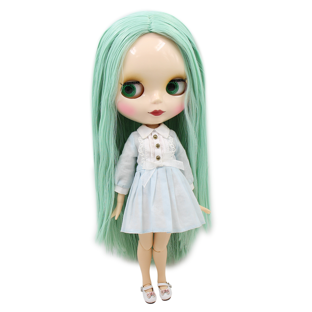 Blyth 1 6 Nude Doll mint green Oily straight Hair white skin no bangs joint body