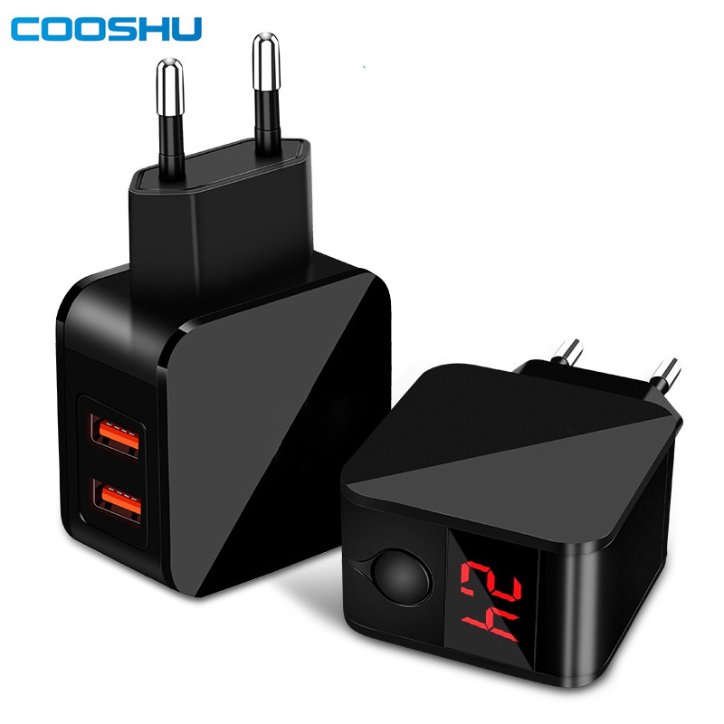 <font><b>5V</b></font> 2.4A 2 Ports Universal Cell Phone Power Adapter Dual USB Mobile Travel Wall <font><b>Charger</b></font> for iPhone Samsung iPad with LED Display image
