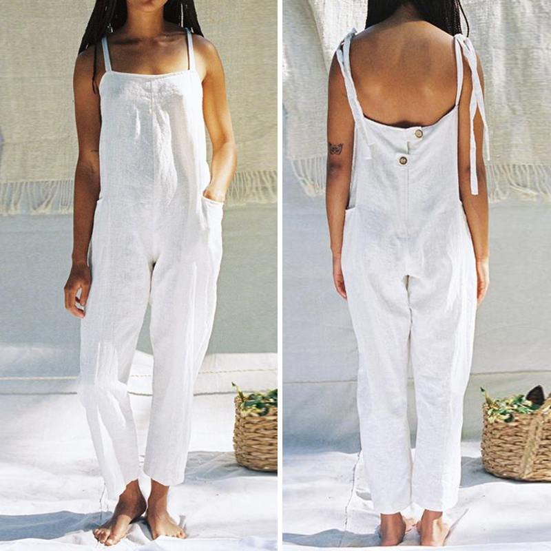 2019 Summer Vintage Rompers Women Jumpsuits Celmia Casual Buttons Playsuits Loose Harem Pants Female Overalls Plus Size Dungaree