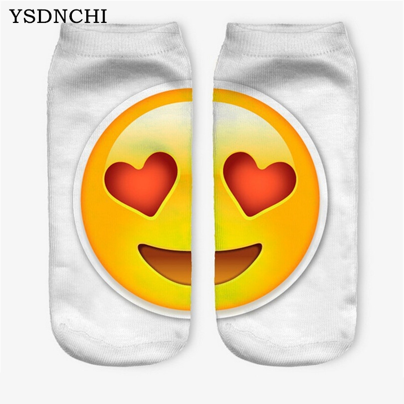 YSDNCHI 21 Colors Unisex 3D Emoji Printed Socks Casual Novelty Charactor Short Sock Hosiery Low Ankle Women Cotton Funny Pattern
