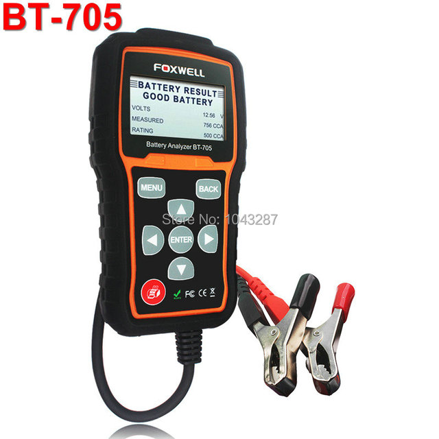 Express Shipping Foxwell BT705 BT-705 12 Volt Battery Analyzer Tester Directly Detect Bad Car Cell Battery For Garage Workshop