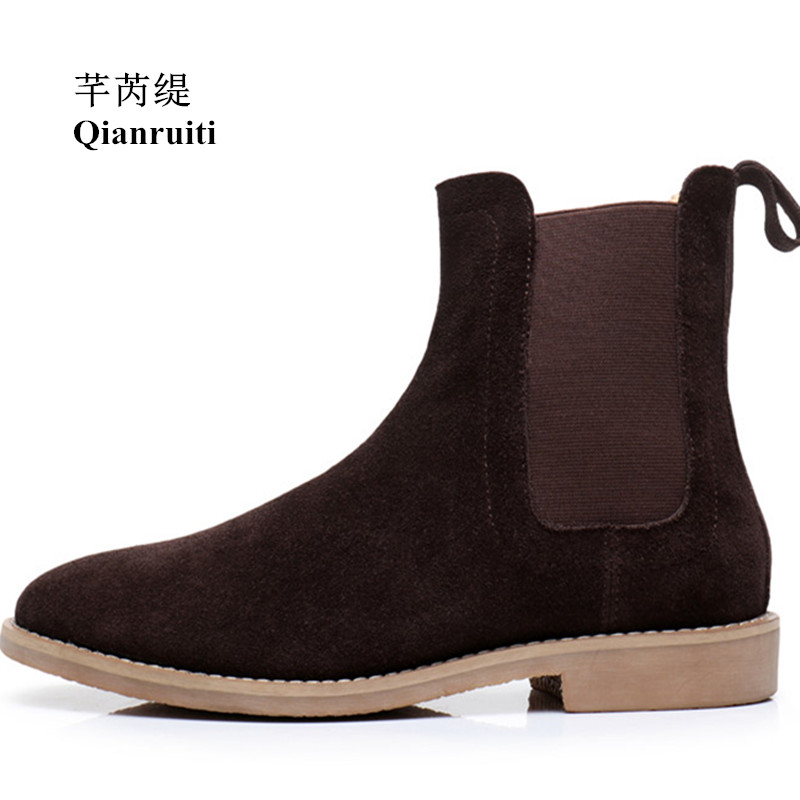 Qianruiti Men's Ankle Boots Cow Suede Chelsea Boots Elastic Band Anti-skid Shoes for Men EU39-EU46 Brown Black Grey aiweiyi winter boots shoes woman high quality sexy women thigh high boots lace up knee boot high heel retro knight boots