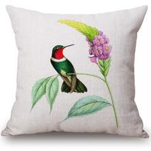 Free Shipping Custom 2016 New Flowers And Birds Printing Linen Cotton Decorative Throw Pillow Cushion For Office Chair