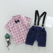 AJLONGER Shirt Tops+Shorts Baby Boy Clothes Gentlemen Short Sleeve Soft Cotton Toddler Outfits Set
