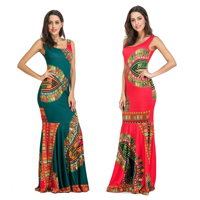 fe5ff5cc549e Womens Long Maxi Dresses Plus Size Bodycon Boho Summer Beach African Print Indian  Dress Party Bohemian Red Female Vestidos