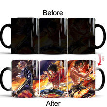 1pcs ONE PIECE Color Changing Mug Cool Brother Luffy ACE Sabo Heat Reveal Ceramics Coffee Milk Cups Birthday Gift(China)