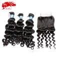 3 pacotes de tecer cabelo onda peruano virgem com fechamento de 100% não transformados lace closure com feixes de cabelo humano 3 pcs lot