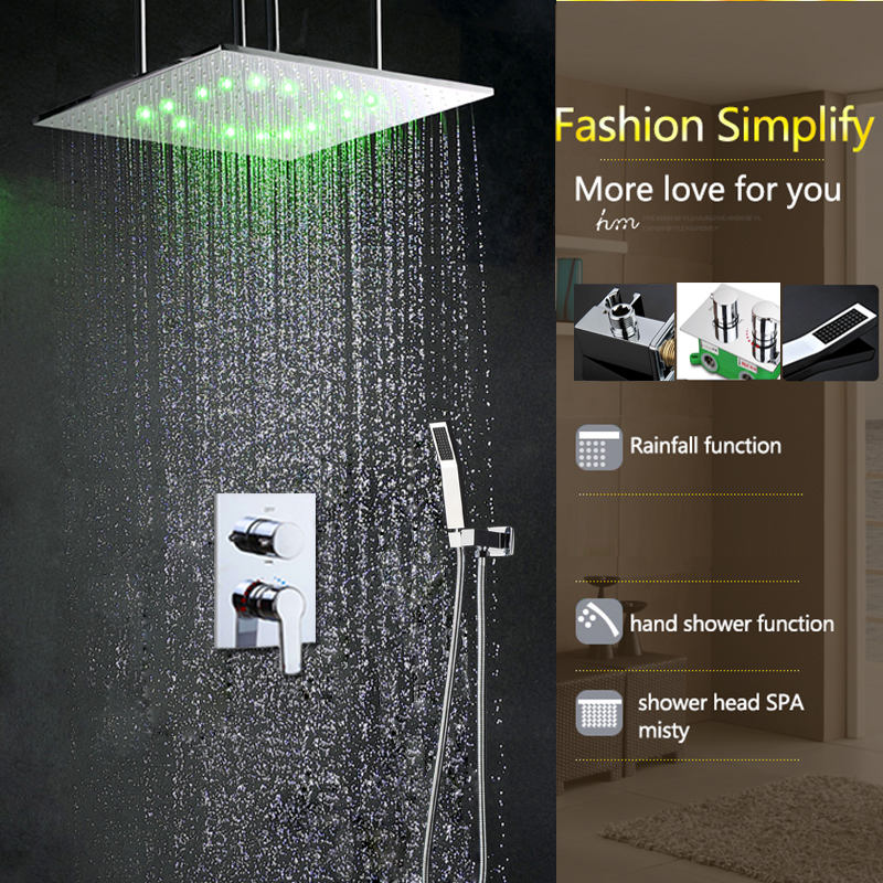 Hot And Cold Shower Head Set 20 Inch Ceiling Rain Spa Mist Shower ...