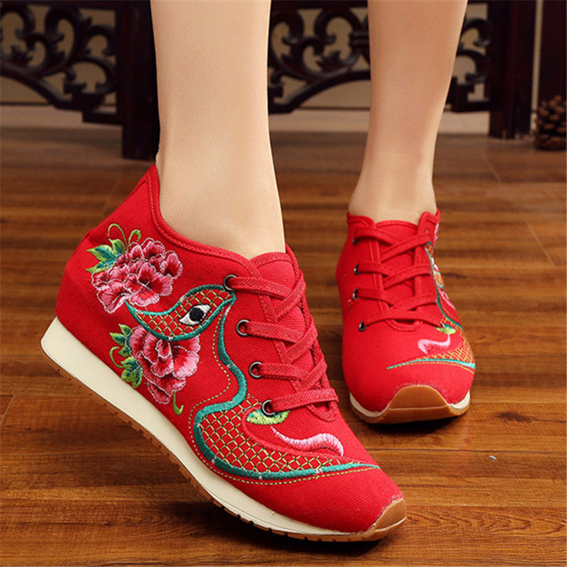 New Design 2017 Spring Chinese Women Embroidery Shoes Casual Canvas Embroidery Eyes Zapatos Female Shoes Students Increased Flat 100 super cute little embroidery chinese embroidery handmade art design book